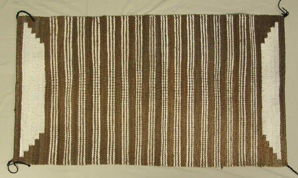 1503: Handspun Mexican Natural Color Wool Rug 32.5x61''