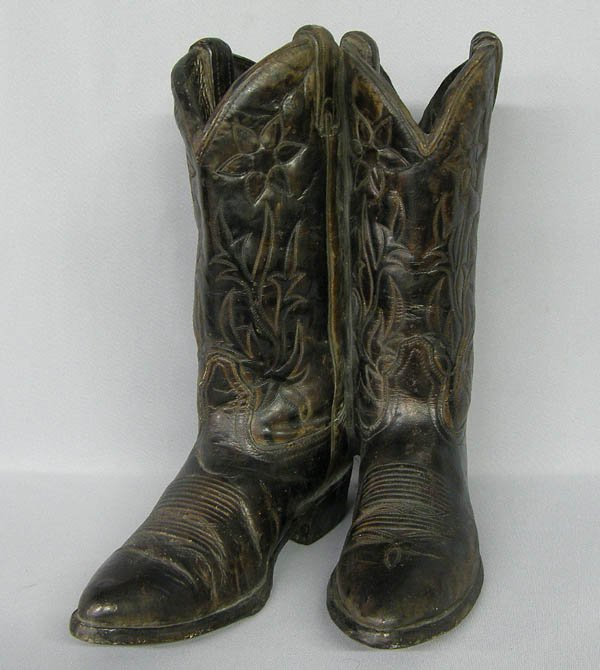 1510: 1982 Molded Cement Decorative Cowboy Boots 14.5''