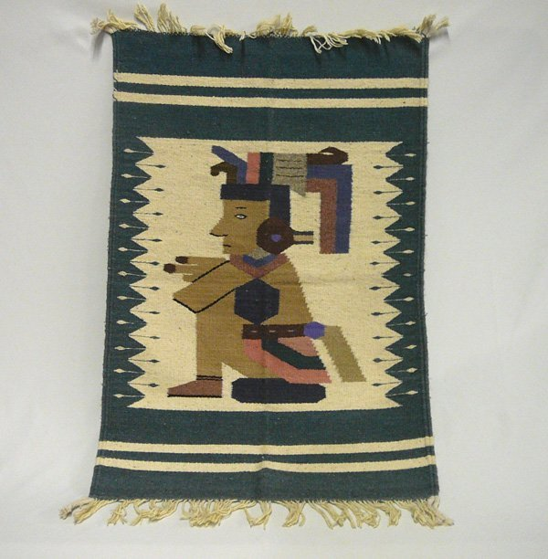 1513A: Mexican Pictoral Fringed Rug 41'' x 24''