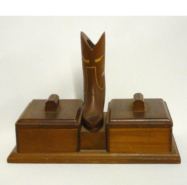 1514: Vintage Cowboy Boot Wood Cigarette Box 5x6.25''