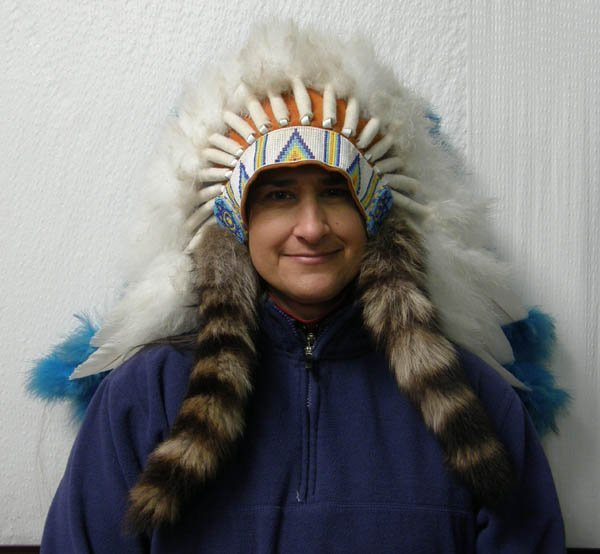 1515: Plains Indian Beaded Feather Head Dress 16''