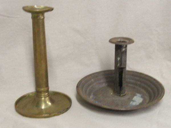 1516: 2 Americana Antique Candle Stick Holders 7.75''