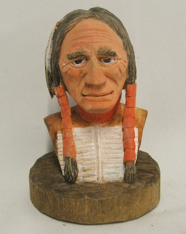 1517: Carved Wood Indian Head Bust 4.5'' Tall