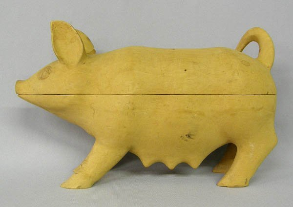 1518: Hand Carved Wooden Pig Box Measures 8x12.5''