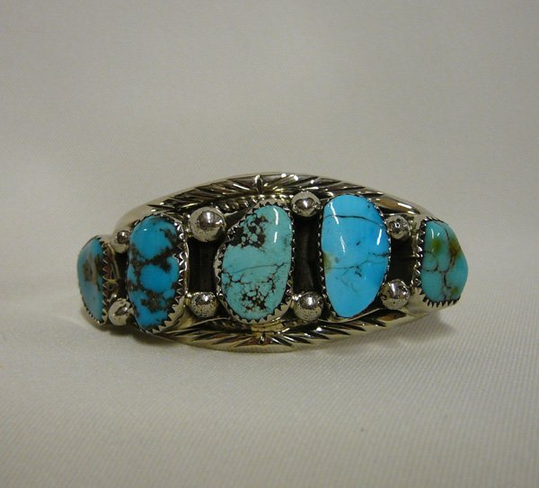 "1715: Vintage Navajo Silver & Turquoise Bracelet 5.5"""