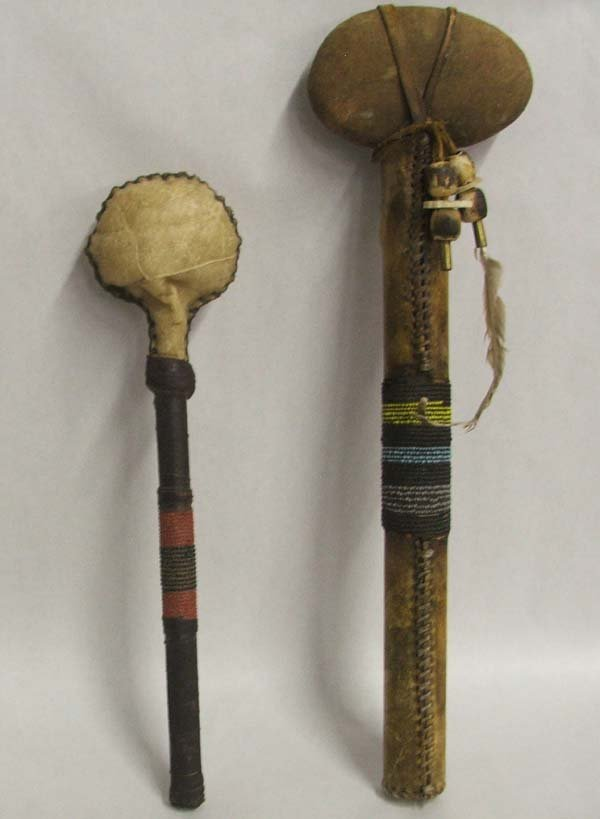1008: 2 Plains Indian Beaded Handle Club & Rattle 17''