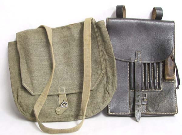 1011: WW II Leather Map Bags, one Shoulder  Bag 10''