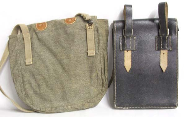 1011: WW II Leather Map Bags, one Shoulder  Bag 10'' - 2