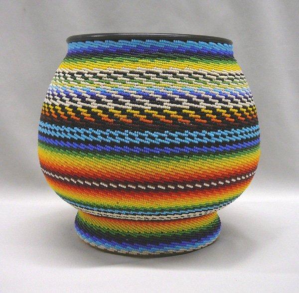 1012: Southwestern Beaded Glass Bowl 8''x8.5''
