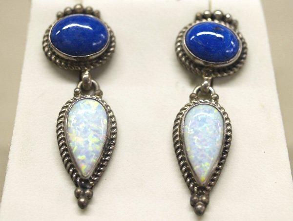 1022: Geisler Estate Opal & Lapis Pierced Earrings 1.5'