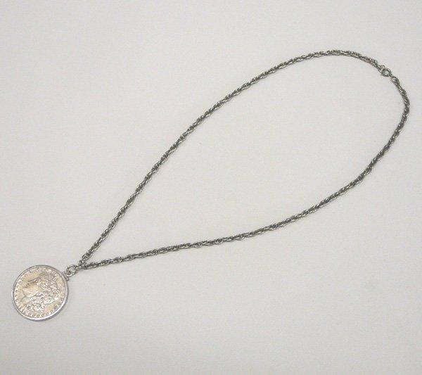 1042: 1901 Morgan Silver Dollar Pendant Necklace 24''