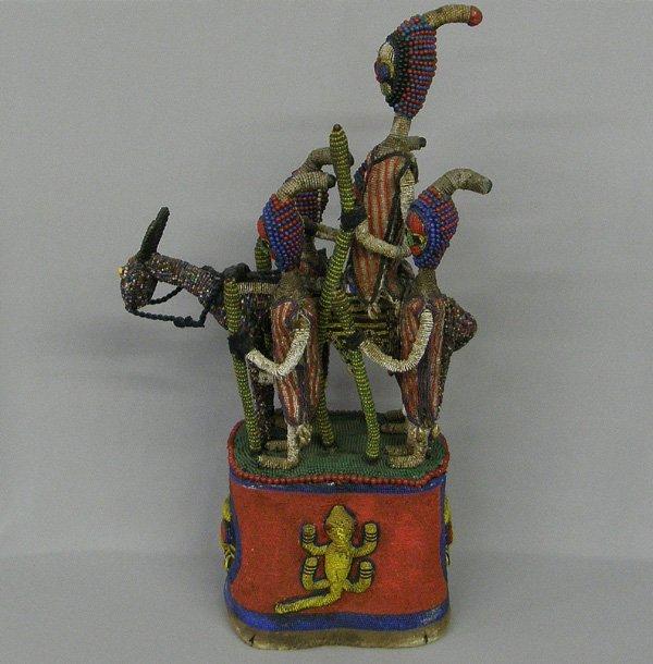 1046: 1940's Beaded African Ceremonial Helmet  31''