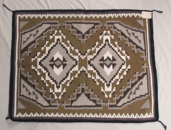 1067: Navajo Two Grey Hills Rug by Begay 48'' x 36''
