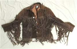 1074 Vintage Suede Fringe Jacket Made In Mexico Size 4