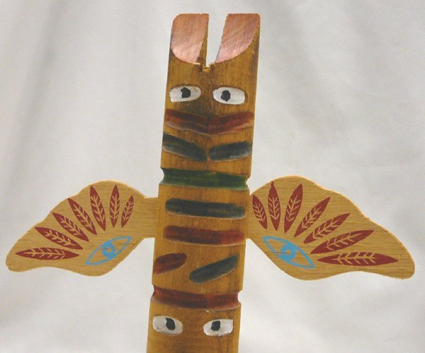 1075: 2 Carved Wood Cherokee Totem Poles 10.5'' Largest - 3