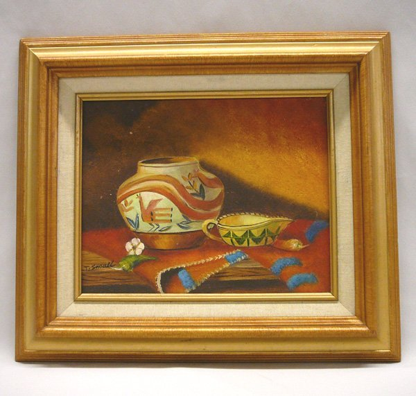 1286: Original Painting on Canvas by J. Small 7.5x9.5''