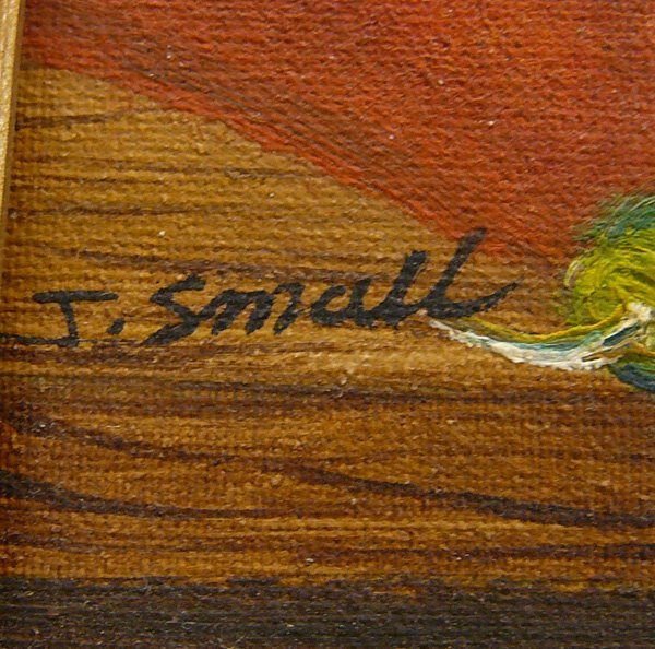 1286: Original Painting on Canvas by J. Small 7.5x9.5'' - 3