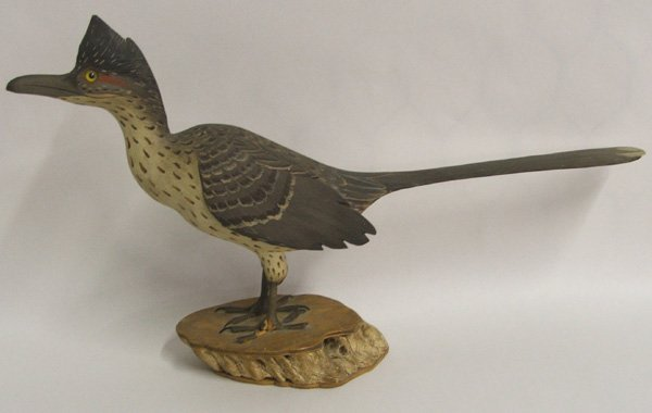 1379: Hand Carved Wooden Roadrunner By Pence 9x15x3'