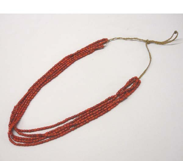 1004: Navajo 5 Graduated Strand Red Shell Necklace 26''
