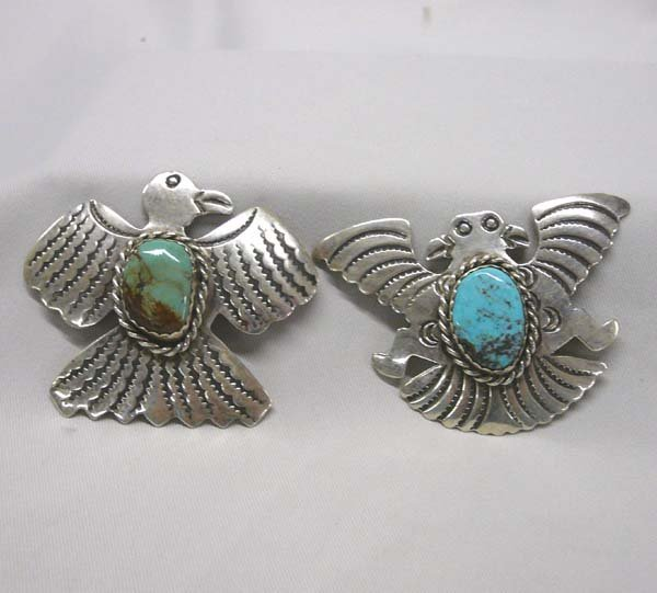 """1005: 2 Navajo Silver Eagle Pins by Cleveland 2x2"""""""