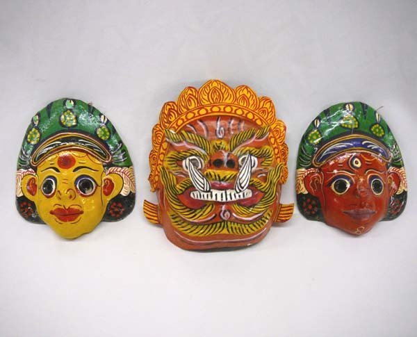 """1010: 3 1940-50s Painted Masks from India Largest 5x5"""""""