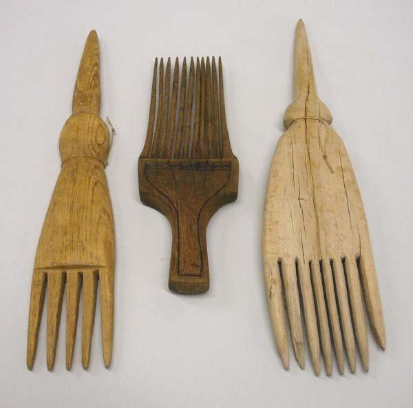 1011: 3 Navajo Hand Carved Wood Weaving Tools  11''