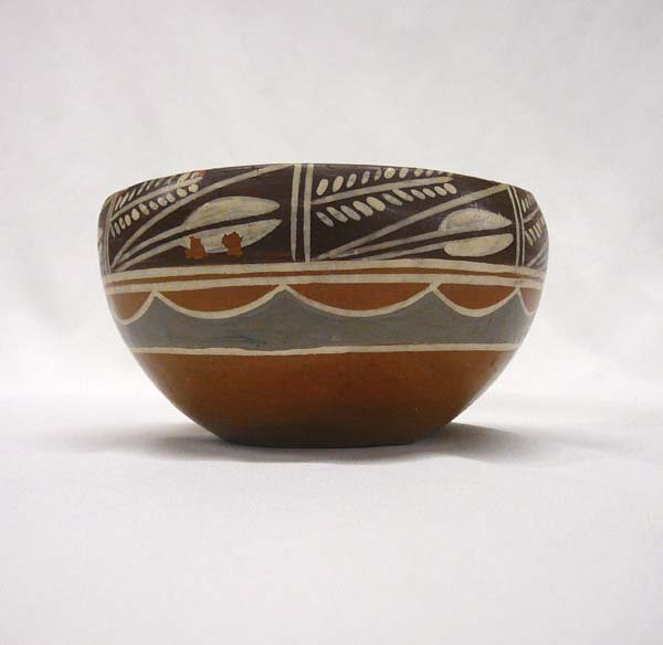 1012: Tri-Colored Santa Clara Pottery Bowl 2.5''x4.5''