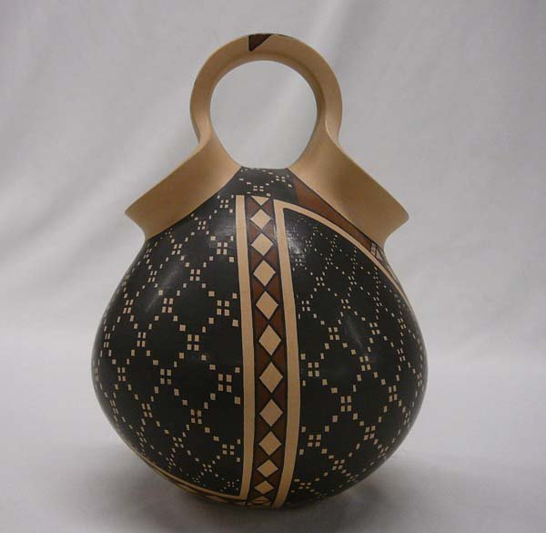 """1017: Mata Ortiz Double Spout Pottery by G L Veloz 7.5"""""""