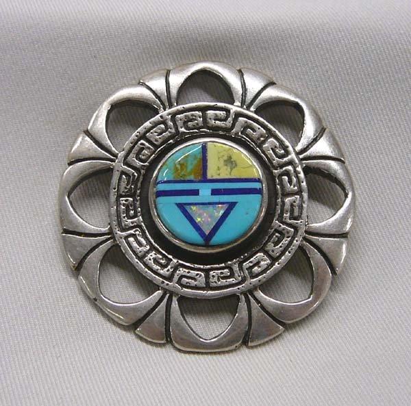1020: Zuni Opal, Silver & Turquoise Sun Face Pin 2''