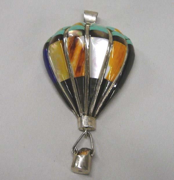 1021: Navajo Inlay Silver  Balloon Pendant 3.5'' Long