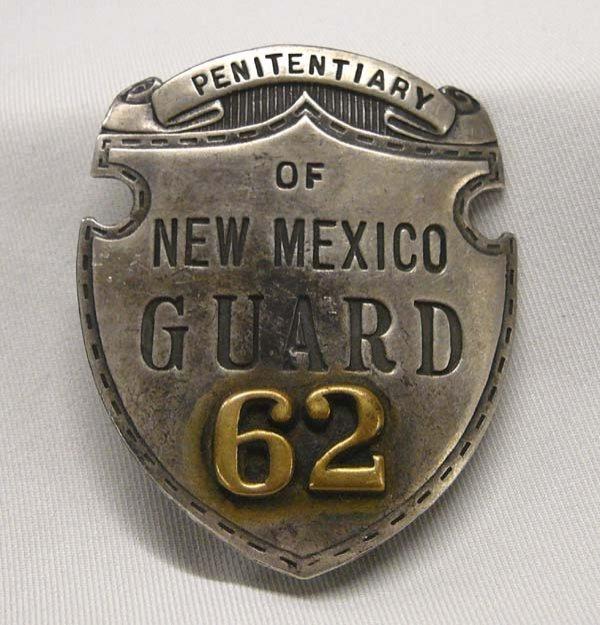 "1022: New Mexico Silver Penitentiary Guard Badge 2x2"""