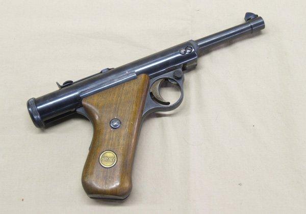 1036A: Antique Haenel Air Pistol & Pellets  10.5''