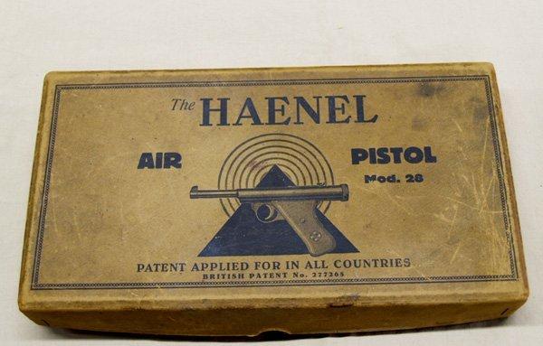 1036A: Antique Haenel Air Pistol & Pellets  10.5'' - 3
