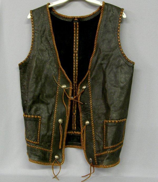 1078: Western Leather Vest W/Buffalo Nickel Buttons