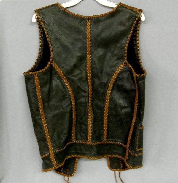 1078: Western Leather Vest W/Buffalo Nickel Buttons - 2