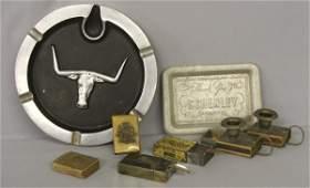 1181 8 Antique Metal Candleholdermatchboxes Ash Tray
