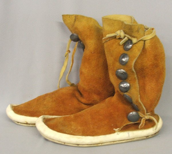 1356: Navajo Leather Moccasins 10.5'' x 11'' Tall - 2