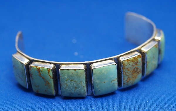 """1000A: Navajo Sterling Silver Turquoise Bracelet 7""""ins."""
