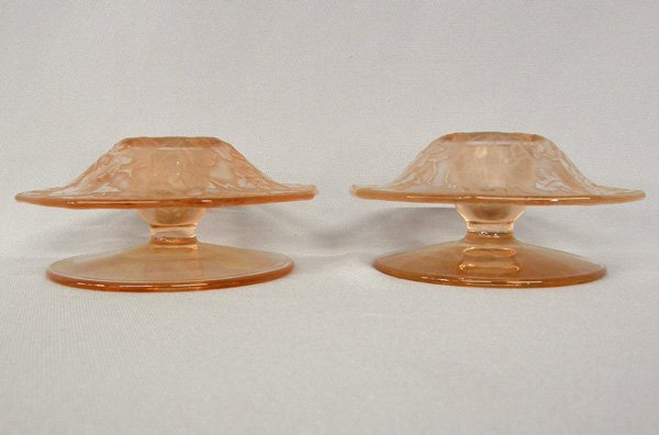 1000: Pair Pink Depression Glass Candle Holders 5''