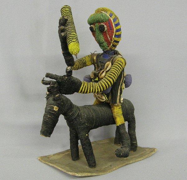 1004: Beaded Aruba African Horse/Man Figure 14 x 9''
