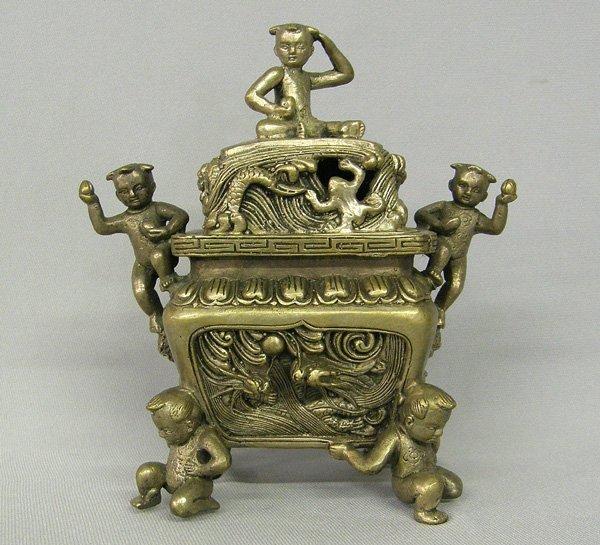 1006: Bronze Asian Incense Burner 6'' H