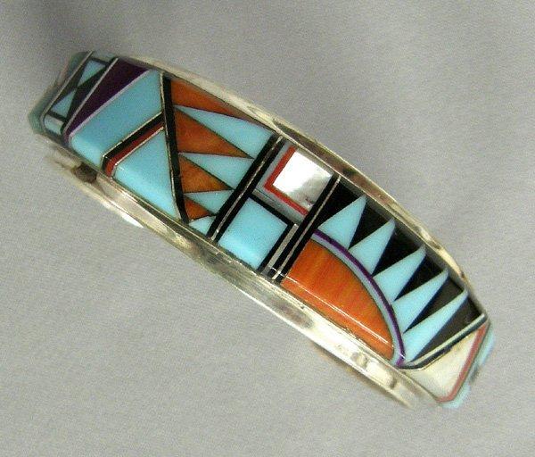 1009: Navajo Sterling Inlay Bracelet 6.24''
