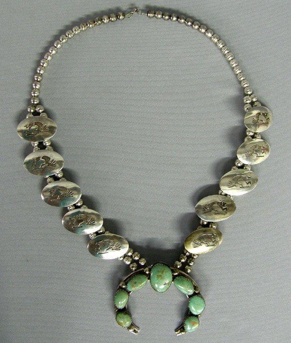 1012: Navajo Silver Squash Blossom Necklace 25''