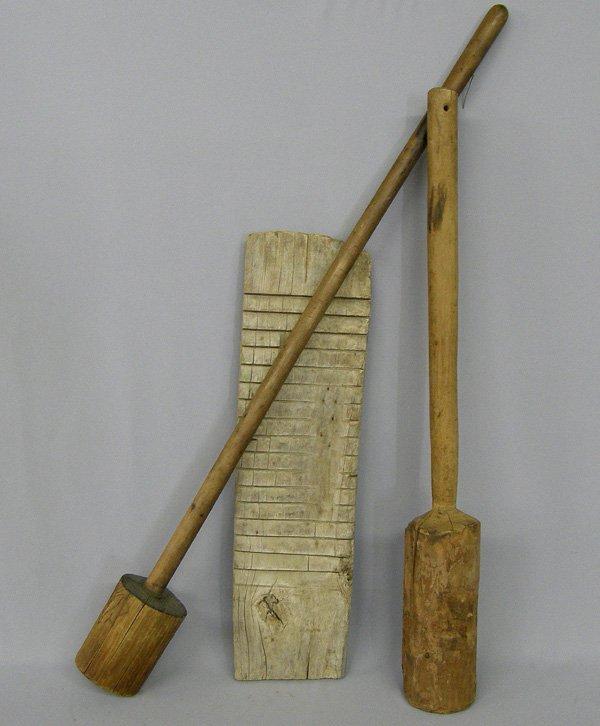 1015: 3 Antique Wood Laundry Tools 35''