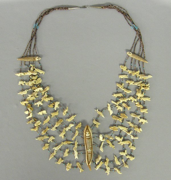 1016: Zuni Carved Bone Fetish Necklace 32''