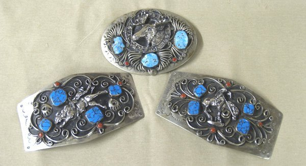 1006A: 3 German Silver Western Turquoise & Coral Buckle