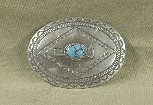 1002A: Navajo Sterling Silver & Turquoise Buckle 3.5x2.