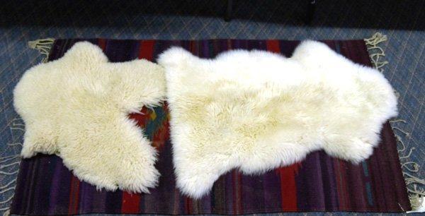 """1015C: 2 Sheepskin Hide Rugs Largest is 20x33"""""""