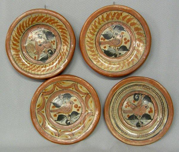1002: 4 Tonala Mexico Pottery Plates 6'' Diameter