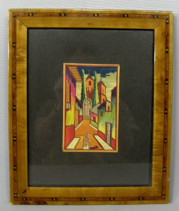 1004: Mexican Framed Popote Straw Art 5''x 3.25''